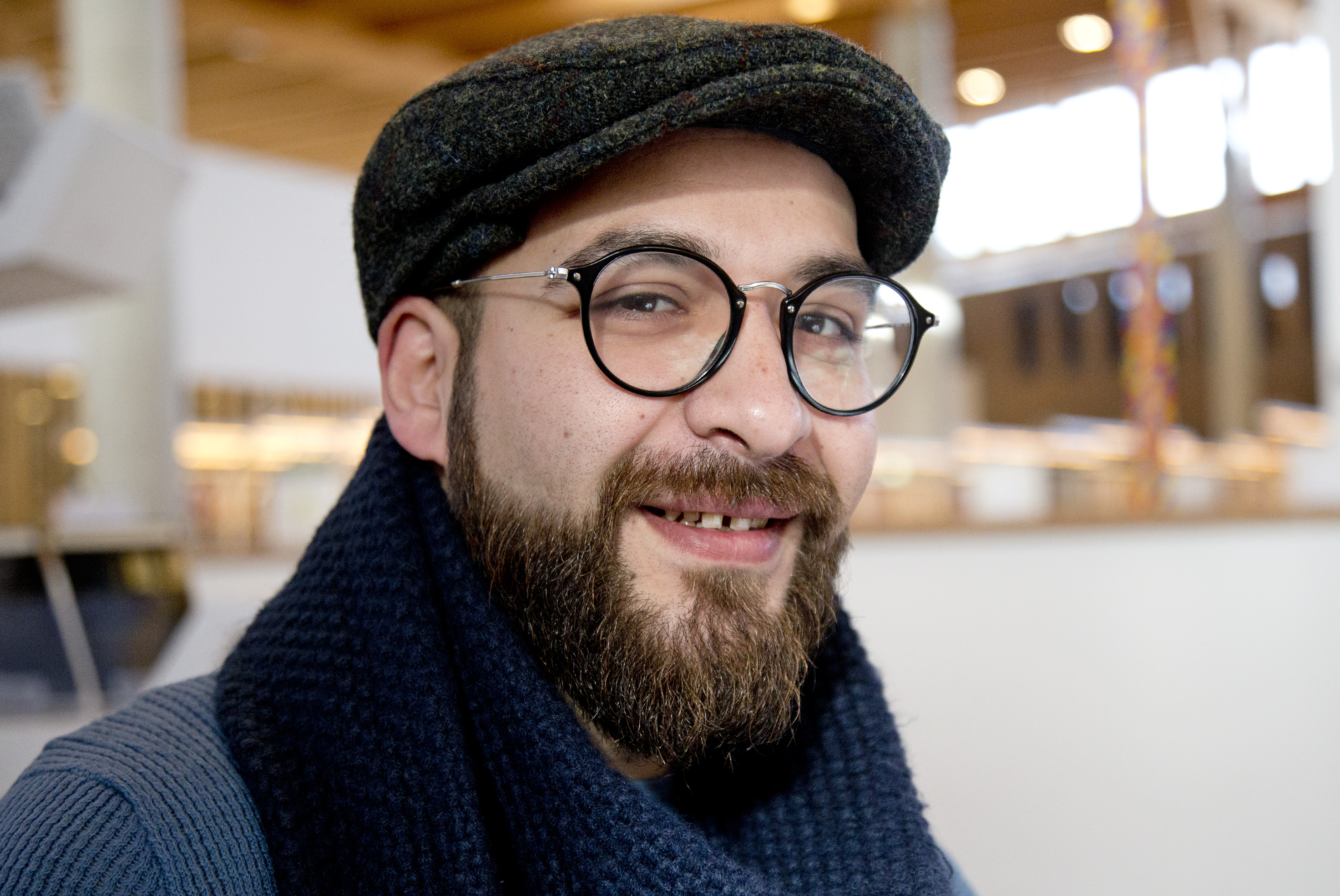 Housam Al-Mosilli, Syrian journalist, poet and translator. ICORN writer in residence in Linköping, Sweden. Photo.