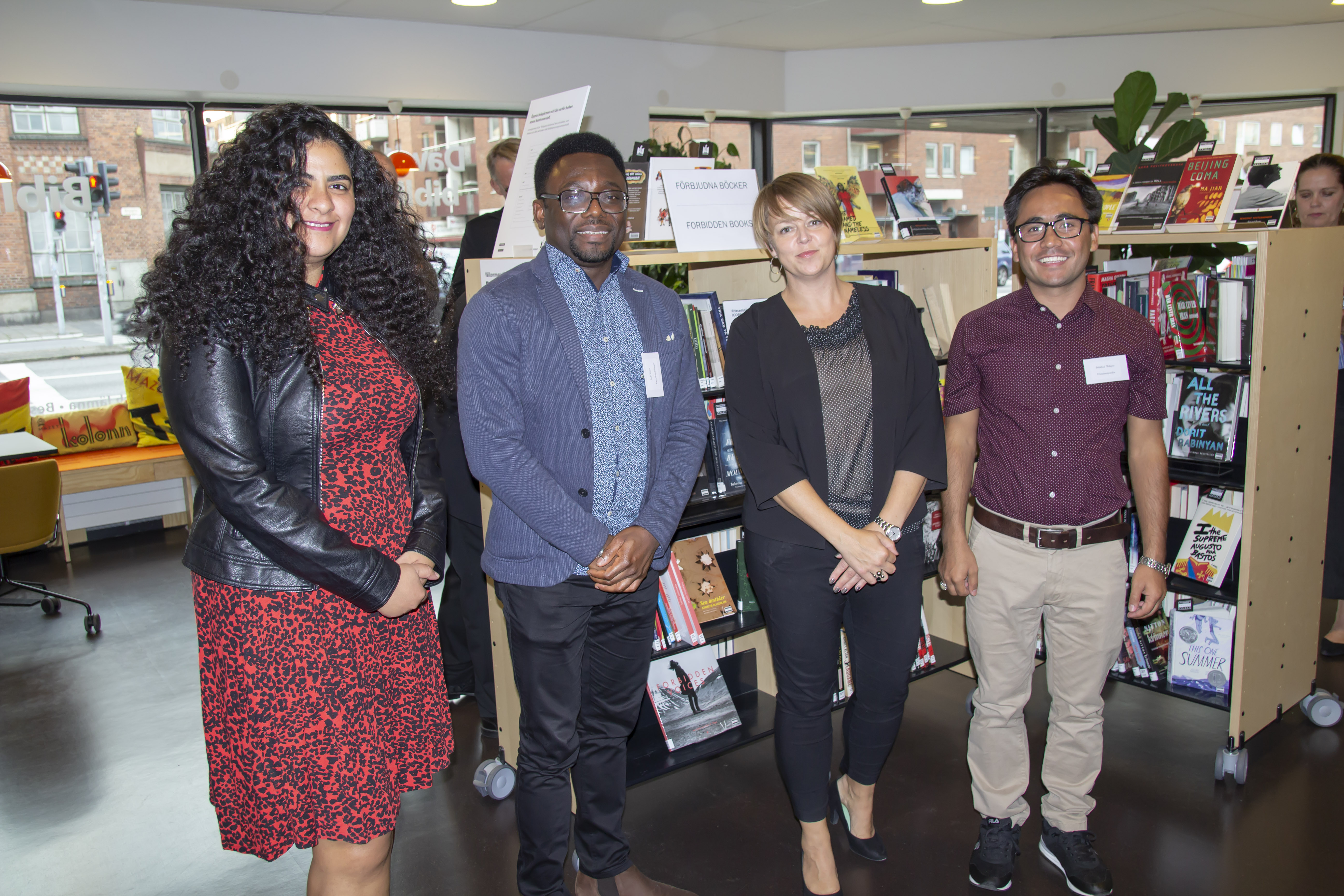 At the opening of the Dawit Isaak Library in Malmö, Sweden 15 September 2020. With three current and former ICORN resident, Yasmine El Baramny, Jude Dibia and Mukhtar Wafayee with Mayor of Malmö CIty, Katrin Stjernfeldt Jammeh. Photo.