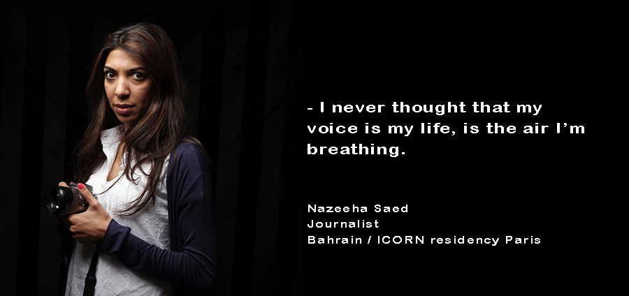 Nazeeha Saed. Bahrainian journalist, ICORN residency Paris. Photo.