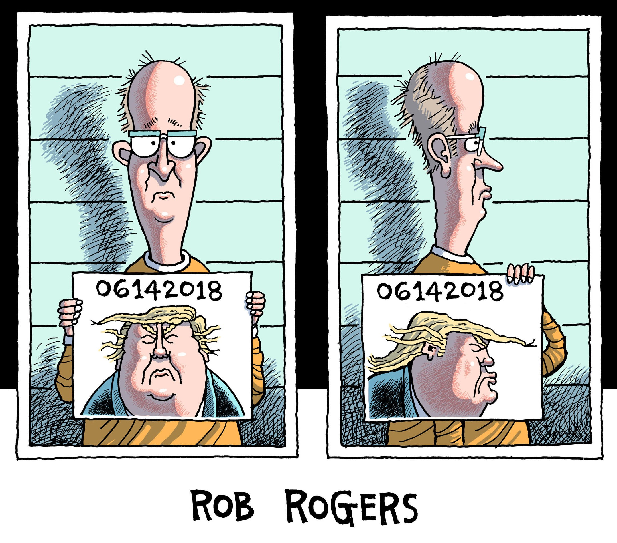 Cartoon by Rob Rogers. Photo.