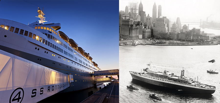 The SS Rotterdam at shore in Rotterdam in 2018 and the maidan voyage to New York in 1959. Photo.
