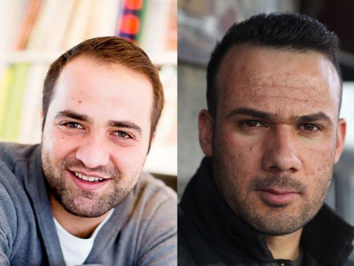 Syrian journalist and documentarist, Ali Al Ibrahim and Afghan war correspondent, Abdulwali Arian, ICORN residents in Sweden. Photo.
