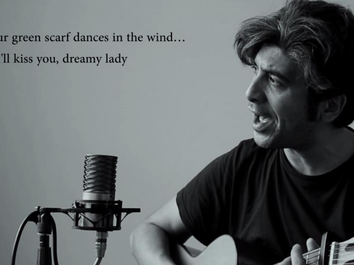 Iranian singer Arya Aramnejad performing his One day I'll kiss you. Photo.