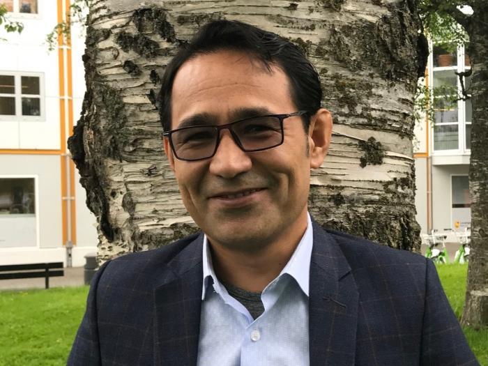 Afghan scholar writer and scholar Hafizullah Shariati. ICORN writer in residence in Levanger 2019-2021. Photo.