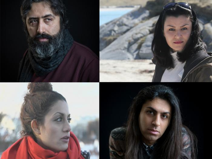 From top left: Mehdi Mousavi, Sahar Bayati. From bottom left: Elahe Rahroniya, Benyamin Farnam. Photo.