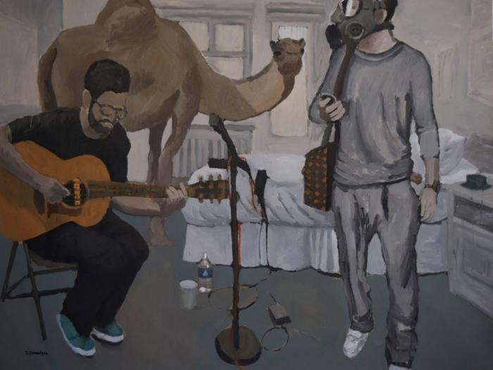 AR-ICORN artist in residence, Saddam Jumaily's painting. Photo.
