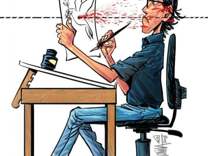 Cartoon by Pedro X. Molina. Self portrait. Photo.