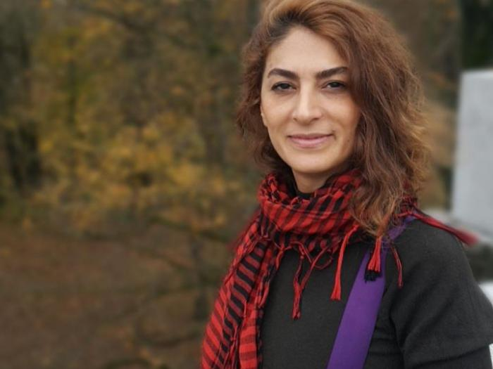 Iranian journalist and human rights defender, Shiva Nazarahari in Ljubljana. Photo.