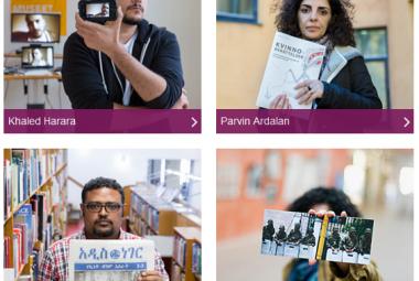 ICORN guest writers: Khaled Harara (Palestine) - rapper/musician, Parvin Ardalan (Iran) - writer and human rights activist, Mezghebu Hailu Habtewold (Ethiopia) - journalist and language researcher, Diana E. Vallejo, poet (Honduras) - writer and human rights activist