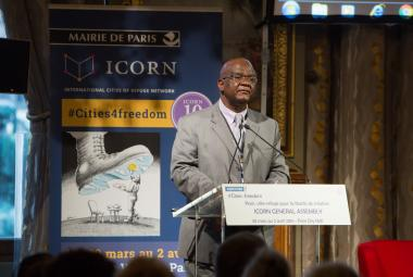 Felix Kaputo speaking at the opening of the ICORN General Assembly in Hôtel de Ville in Paris 30 March 2016. © H.Garat JB. Gurliat