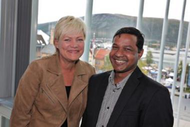 Kristin Halvorsen and Jahangir Akash. Photo: Vidar Dons Lindrupsen