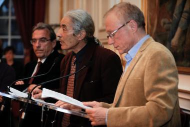 B. Sansal, D. Grossman and R. Ries (the Mayor of Strasbourg). Photo