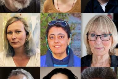 The 2017 recipients of the Kultur & Natur scholarship: Lars Andersson, Alva Dahl, Jesper Högström, Matilda Ruta, Iman Al-Ghafari, Rose-Marie Nielsen, Klas Östergren, Anita Goldman and Jasim Mohamed.. Photo.