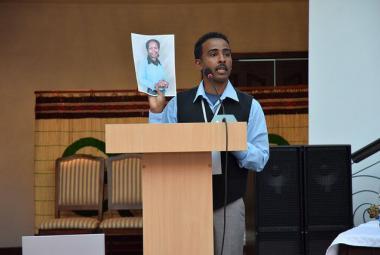 Dessale Berekhet at the PEN International World Congress. Photo.
