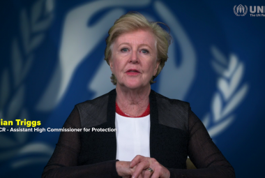 UNHCR Assistant High Commissioner for Protection, Gillian Triggs, in a video message to ICORN on World Refugee Day 2020. Photo.