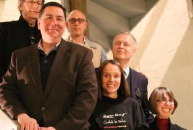 From L to R: Henry Reese, co-founder COA/Pittsburgh; Mayor Bill Peduto;  COA/Las Vegas director Joshua Shenk; Asst. Director COA Pittsburgh Silvia Duarte; ICORN Director Helge Lunde; and Diane Samuels, co-founder, COA/Pittsburgh. Photo.