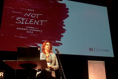 Birgit van Hout, UN High Commissioner for Human Rights Representative for Europe (OHCHR) spoke at the ICORN GA 2018. Photo.