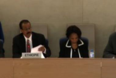Ethiopian delegates at the 19th UPR session on May 6, 2014 Geneva, Switzerland.  Picture from Ethiopian Observatory