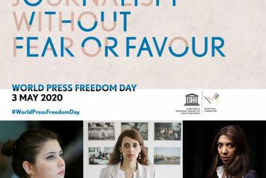 UNESCO - World Press Freedom Day - Journalism without fear or favour. From left: Zamira Abbasova, Amira Al Sharif, Nazeeha Saed. Photo.