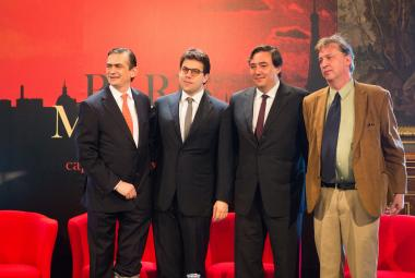 From left: Agustin Garcia-Lopez Loaeza (Mexican Ambassador in France), Patrick Klugman (Deputy Mayor of Paris), Lázaro Cárdenas Batel (Special advisor on Culture, City of Mexico), Philippe Ollé-Laprune (Casa Refugio Citlaltépetl). Photo: Jean-Baptiste Gurliat