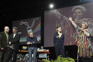 Mansur Rajih with translator, Roberto Vecchioni, Paola Maugeri, Philo Ikonya