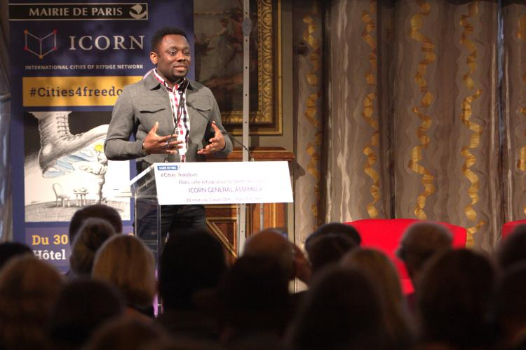 Jude Dibia speaking at the opening of the ICORN General Assembly in Hôtel de Ville in Paris 30 March 2016 © Hossein Salmanzadeh. Photo.