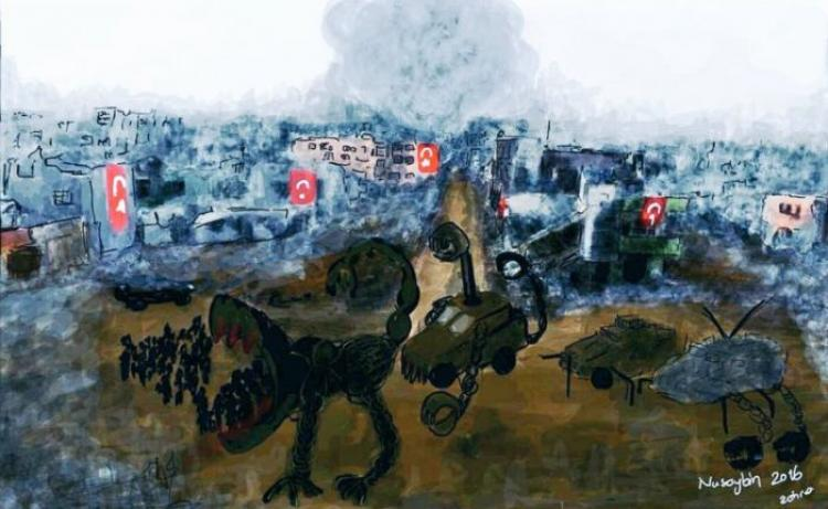 """Image: Zehra Doğan """"Nusaybin"""" (2016). The work of art published above is the reason why the artist and writer, Zehra Doğan, is now in prison for terrorist propaganda. Photo from the Dissident Blog. Photo."""