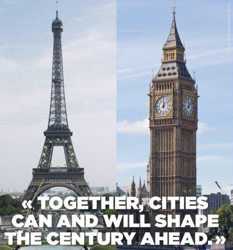 """""""Together, cities can and will shape the century ahead"""". A joint statement of solidarity by the Paris Mayor Ms. Anne Hidalgo and London Mayor Mr. Sadiq Kahn. Photo."""