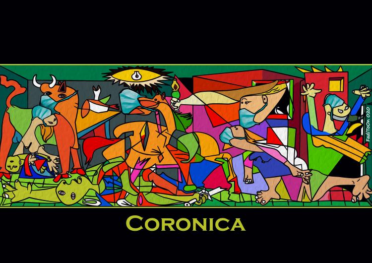CORONICA by cartoonist ©Fadi Abou Hassan. Photo.