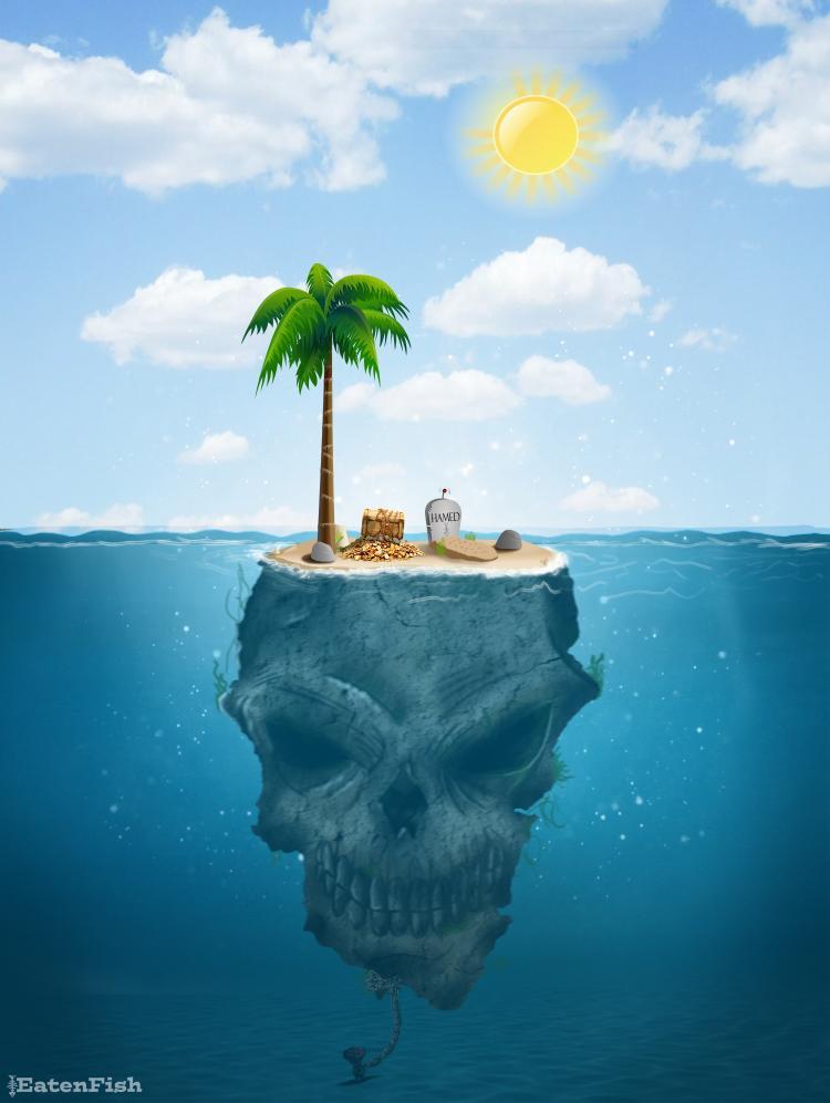 Dead Island - Manus Island. By cartoonist Ali Dorani, Mr. Eaten Fish. Photo.