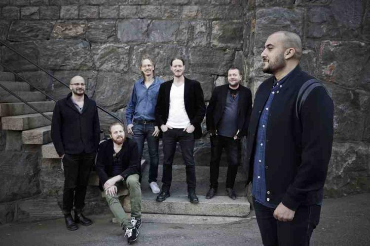Swedish jazz rock band Makten & Härligheten and ICORN rapper Khaled Harara. Photo: Maja Kristin Nylander